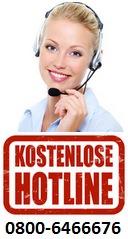 Kostenloser Kontakt durch die Hotline 0800-6466676
